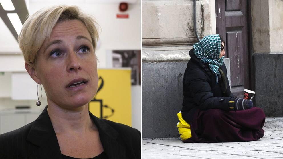 Johanna Westeson, jurist på Amnesty International till vänster. Till höger en EU-medborgare som sitter mot ett träd med tillhörigheter runtom sig.