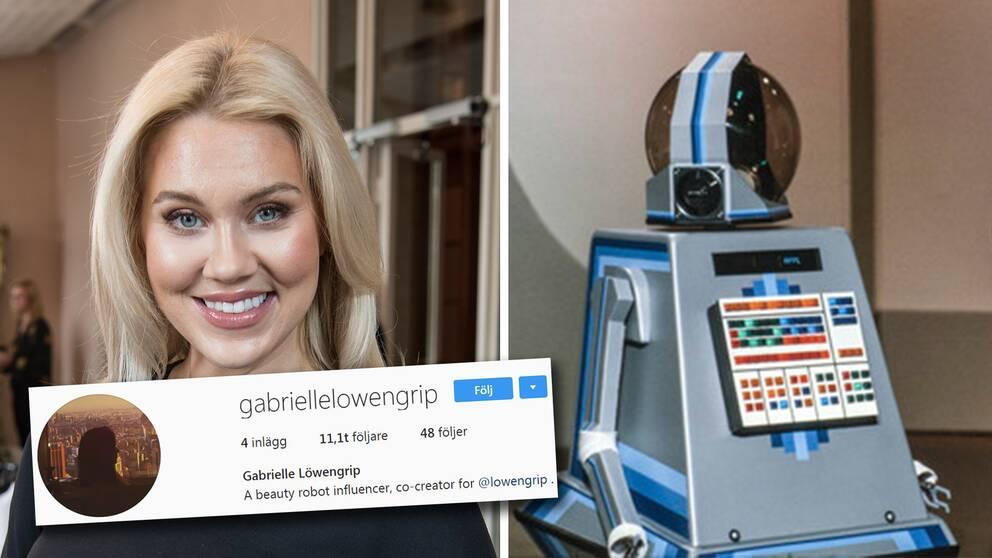"Isabella Löwengrips alter ego Gabrielle – en ""beauty robot influencer""."