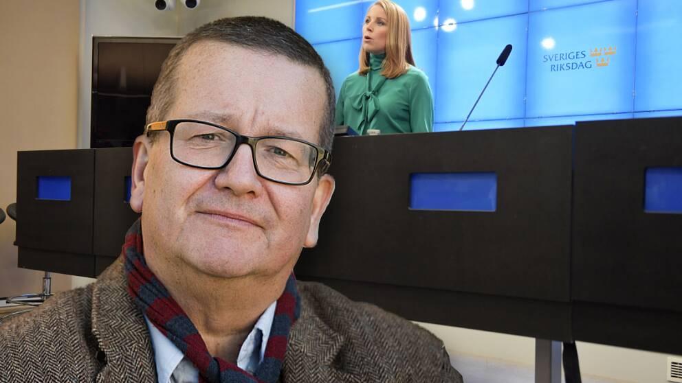 Statsvetaren Stig-Björn Ljunggren inklippt framför en bild på Centerpartiets Annie Lööf.