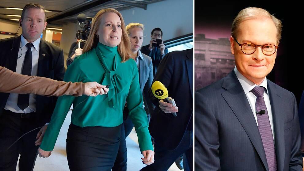 Centerledaren Annie Lööf har fullt upp med regeringsbildningen. Till höger SVT Nyheters politiske kommentator Mats Knutson.