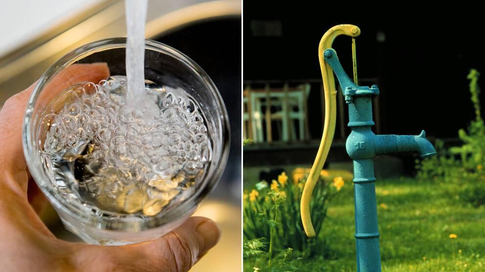 Vattenglas och pump.