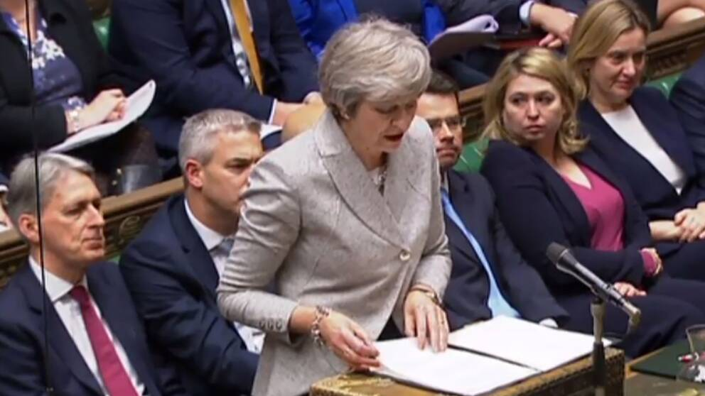 Theresa May talar i parlamentet