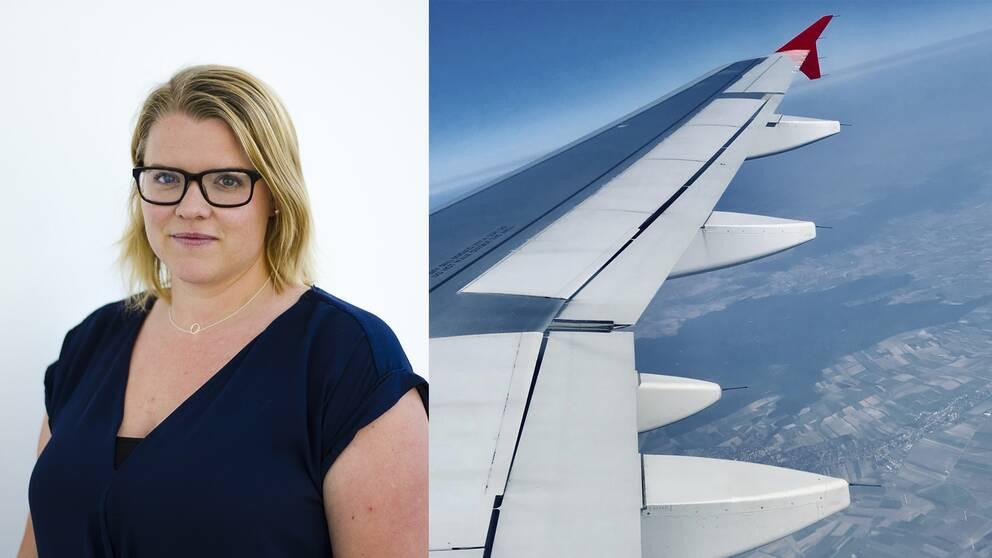 Karolin Kühn i svarta glasögonbågar, axellångt blont hår och marinblå topp. Till höger i bild, en flygplansvinge uppe i skyn.