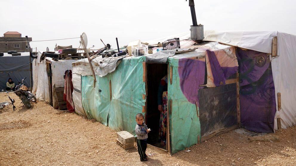 Tältläger för syriska flyktingar i Bekaadalen, Libanon.