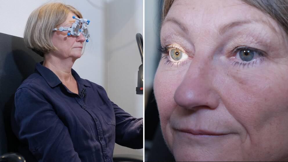 Gerd Knutsson på besök hos optiker.