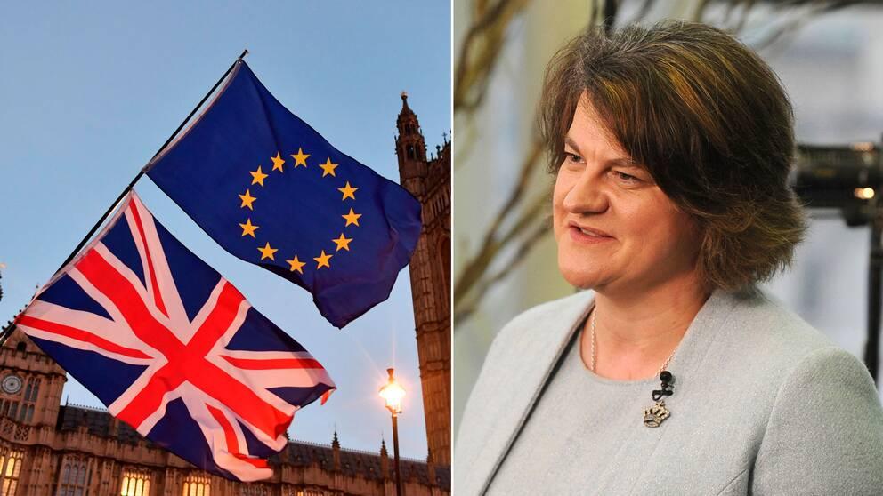 Brittisk flagga och EU-flagga framför parlamentsbyggnaden i London och DUP-ledaren Arlene Foster