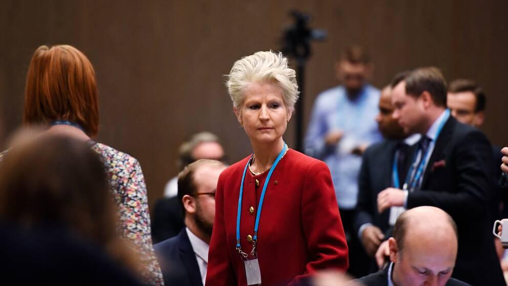 Anna Corazza Bildt (M) under partiråd och nomineringsstämman.