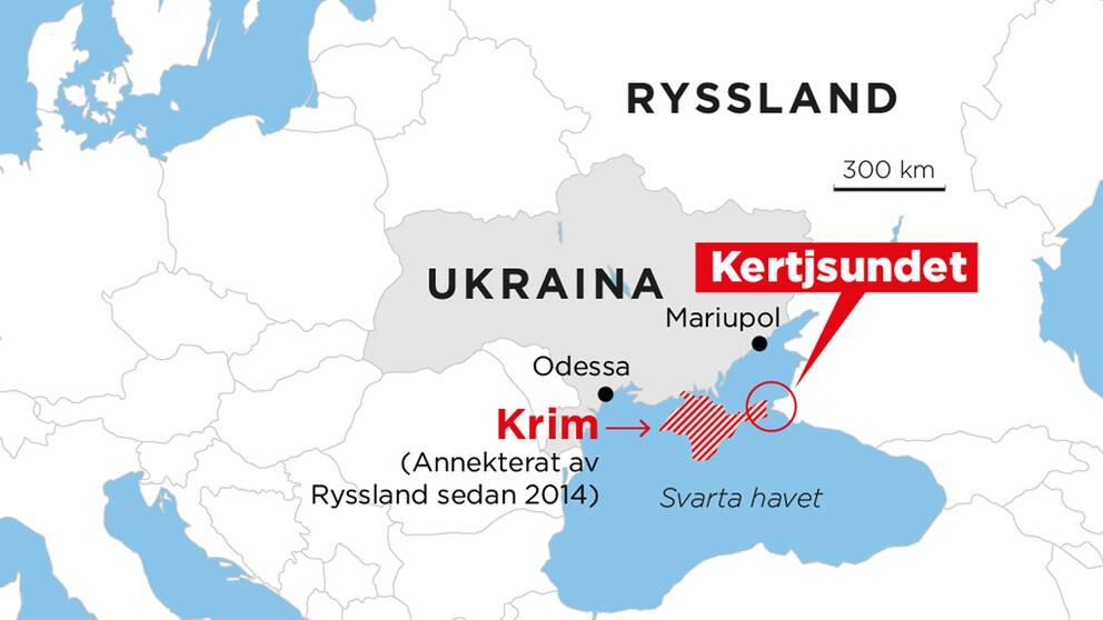 Här ligger Kertjsundet som Ryssland nu har blockerat med ett fartyg.