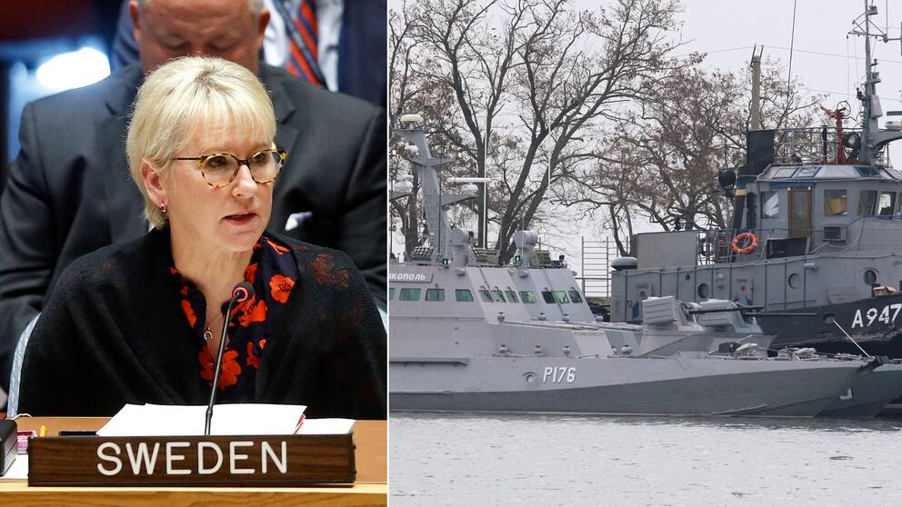 """""""Ryssland måste upphöra med sitt provokativa uppträdande"""", skriver utrikesministern Margot Wallström på Twitter. Till höger de ukrainska fartygen i hamnen Kertj på måndagsmorgonen."""