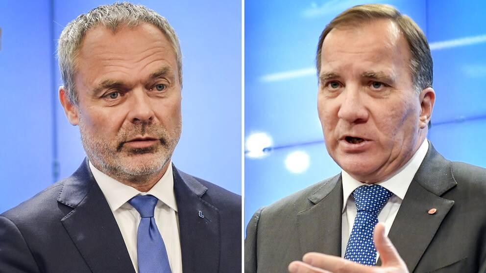 Liberalernas ledare Jan Björklund och S-partiledaren Stefan Löfven