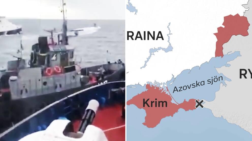 Två båtar kolliderar till havs. Till höger en karta över östra Europa där Krimhalvön är rödmarkerad och ett kryss markerar punkten för var Svarta havet och Azovska sjön möts.