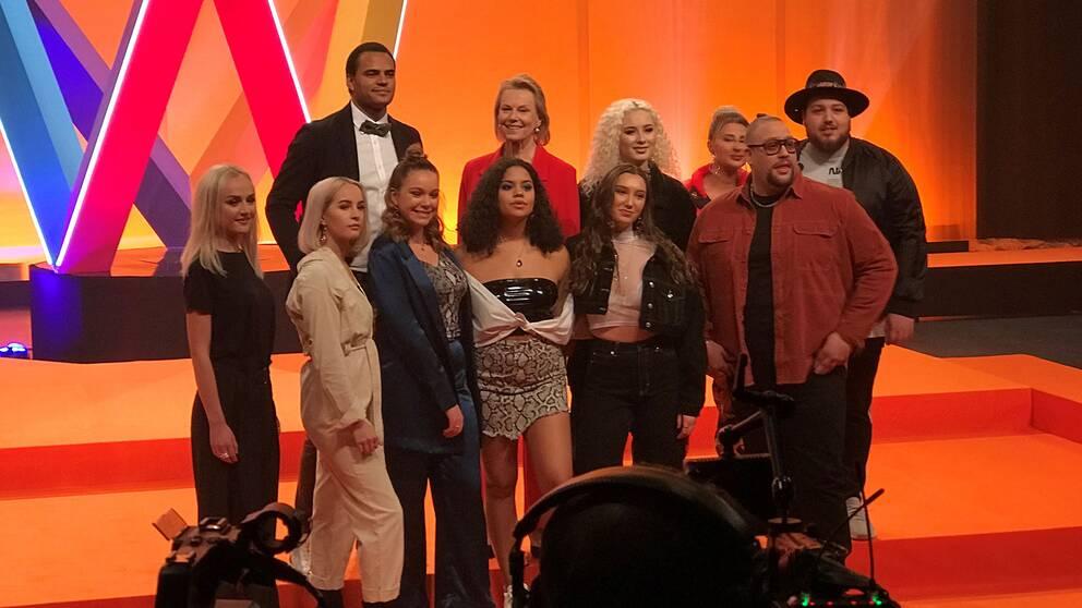 Startfältet i Melodifestivalens första deltävling i Göteborg.