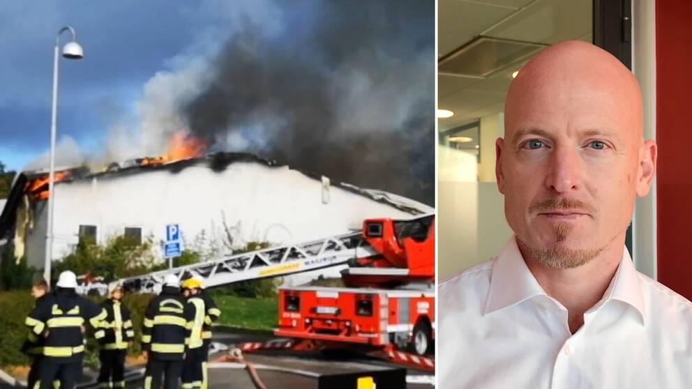 Den brandhärjade industribyggnaden med ett par brandmän i förgrunden, samt en bild på Patrik Kullman.
