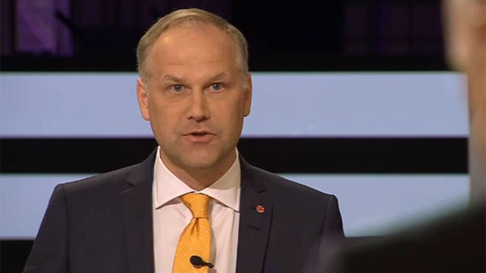 Jonas Sjöstedt (V) i SVT:s partiledardebatt.