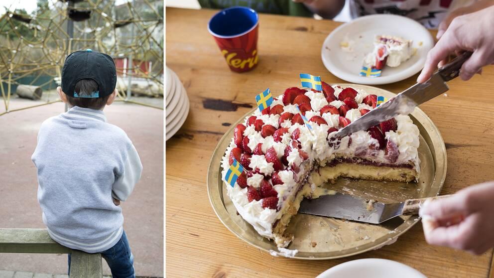 Fyraårige Elias var den enda i klassen som inte blev bjuden på kalas. Anledningen? Att han har ett funktionsnedsättning. På bilden syns ett ensamt barn som inte är Elias och en jordgubbstårta som serveras på ett barnkalas.