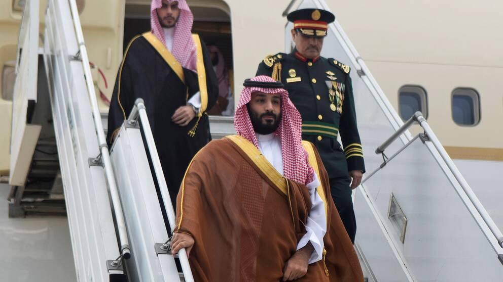 Saudiarabiens kronprins Mohammed bin Salman landar i Buenos Aires, Argentina.