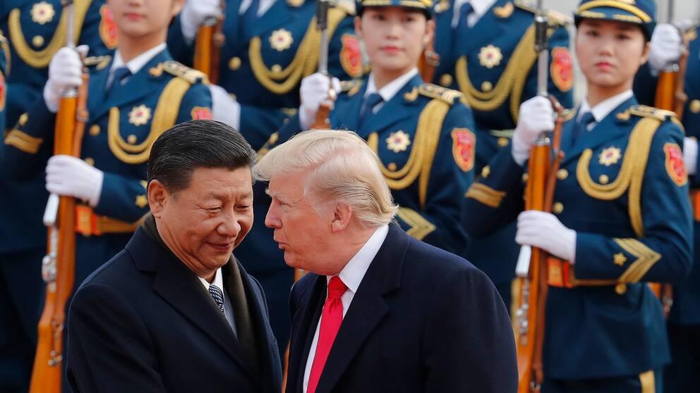 Kinas president Xi Jinping samtalar med USA:s president Donald Trump.