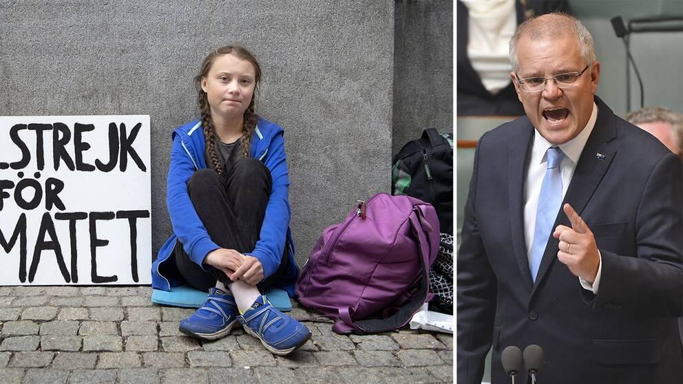 På bilden syns Greta Thunberg, 15, och Australiens premiärminister Scott Morrison.