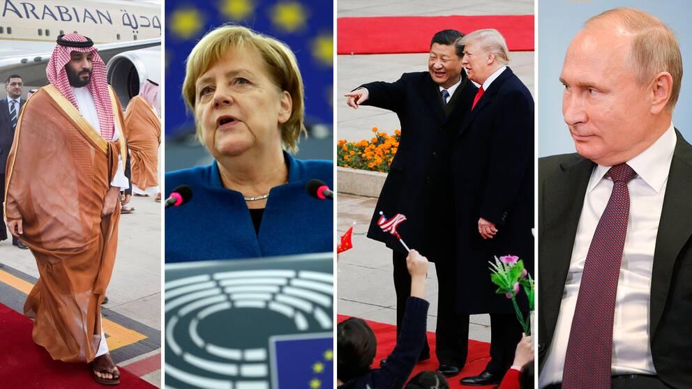 bin Salman, Merkel, Xi, Trump och Putin