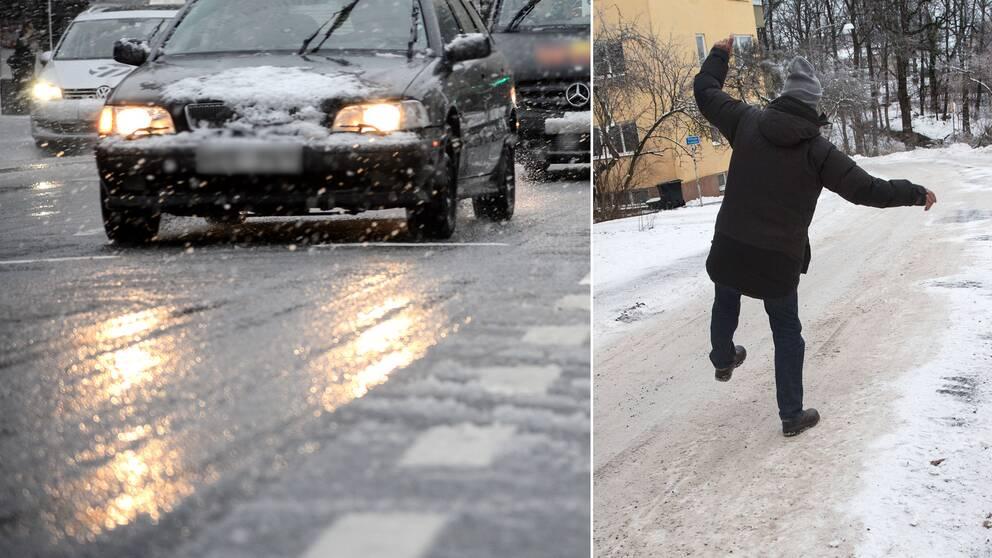 Bil på hal gata och en person som halkar på snöig gata