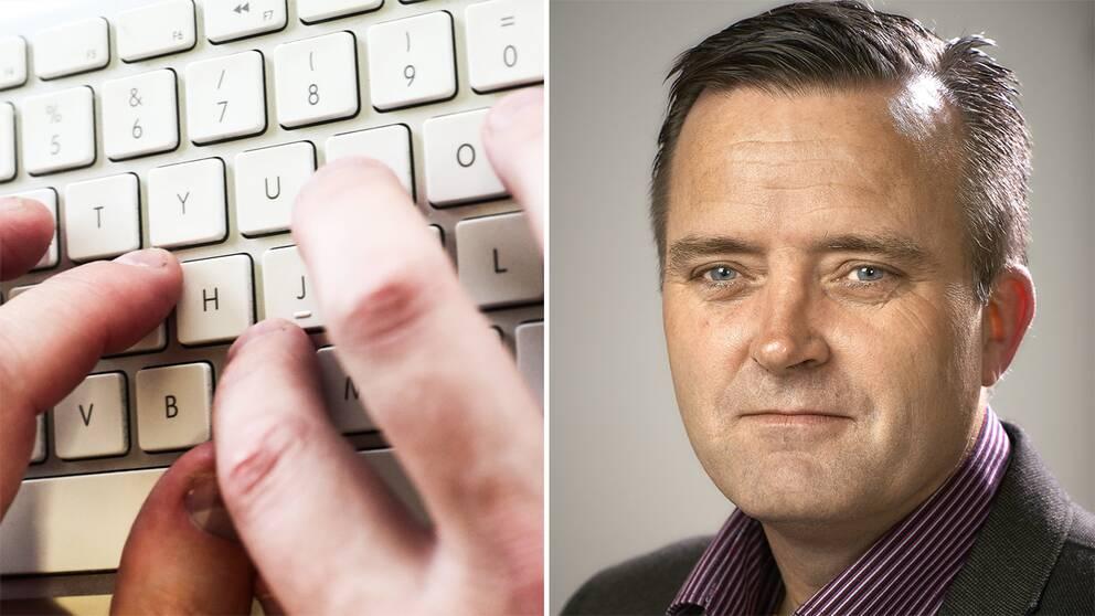Händer vid tangentbord och Jan Olsson, polisen