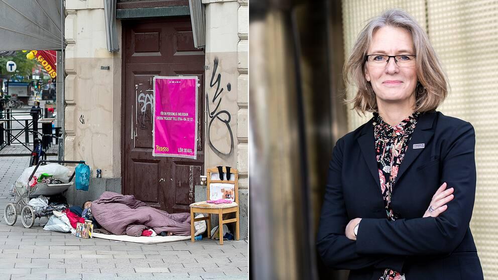En hemlös och direktoren Marika Markovits.
