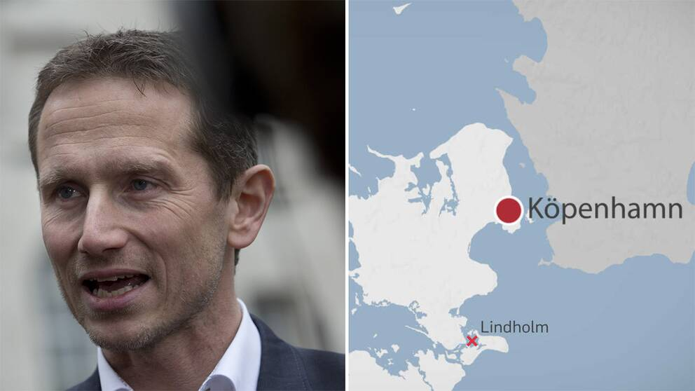 Danmarks finansminister Kristian Jensen samt en karta.