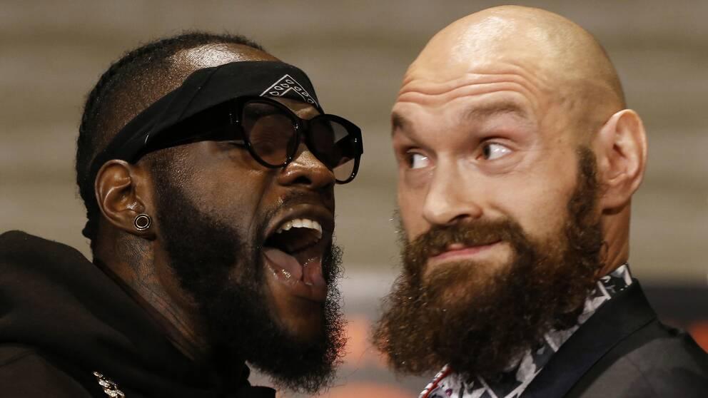 Deontay Wilder (vänster) och Tyson Fury (höger) möts i Los Angeles i natt i en av årets största boxningsmatcher.