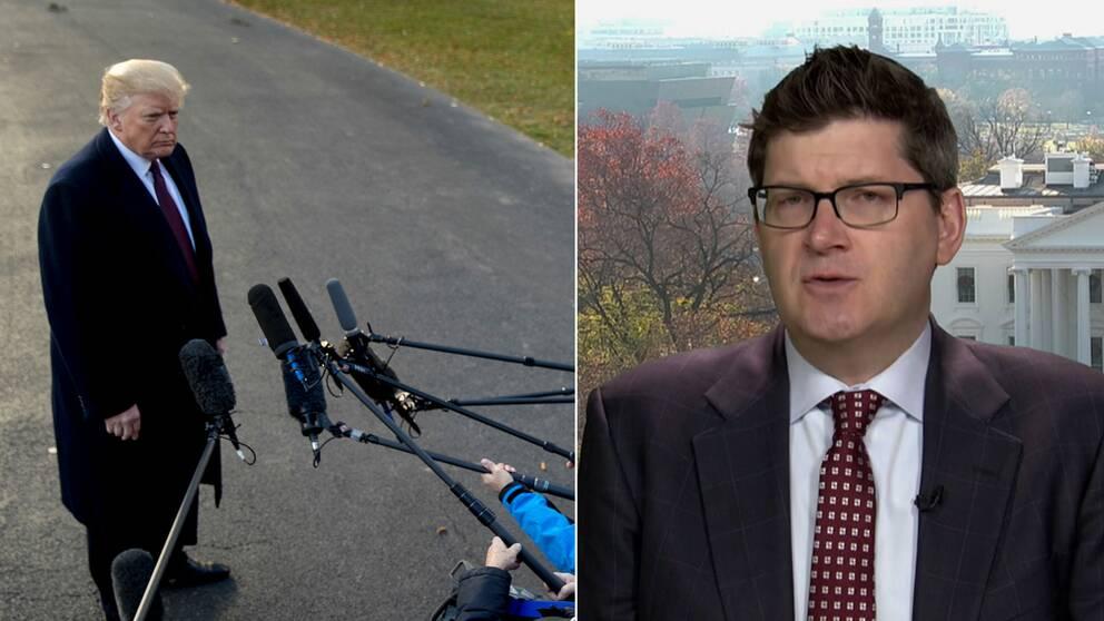 Donald Trump svarar på journalisters frågor och Olivier Knox, ordförande för Vita Husets pressklubb.