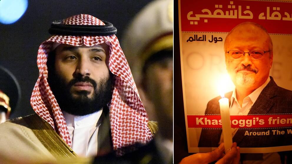 """""""Ju fler offer han slukat desto fler vill han ha"""", skrev Jamal Khashoggi (t.h) om den saudiska kronprinsen Mohammed bin Salman (t.v) i ett chattmeddelande i maj."""