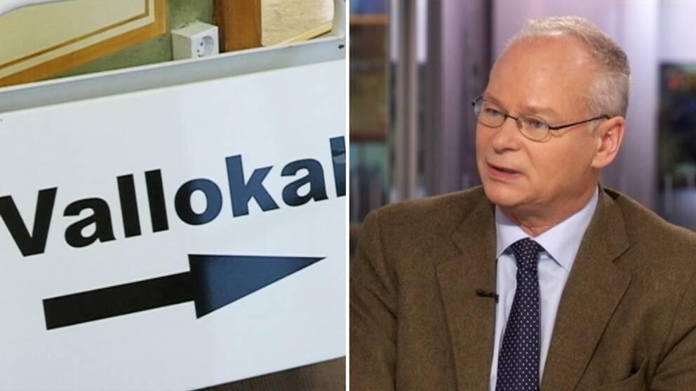 En skylt som med en pil pekar mot en vallokal. Till höger Tommy Möller som är professor i statsvetenskap vid Stockholms universitet.