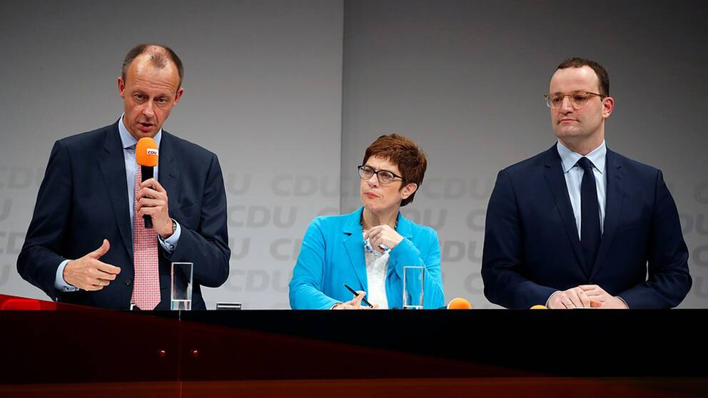 Friedrich Merz, Annegret Kramp-Karrenbauer och Jens Spahn kandiderar till partiledarposten i det kristdemokratiska partiet CDU.