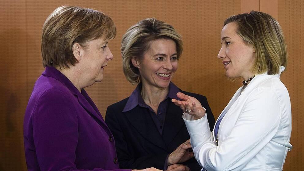 Angela Merkel, Ursula von der Leyen och Kristina Schröder.