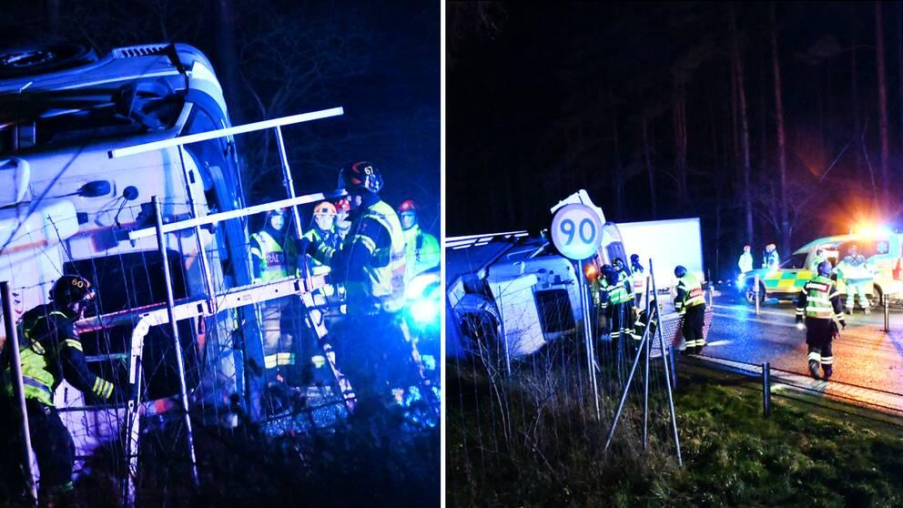 Räddningstjänst på plats på E22, utanför Bromölla, där olyckan inträffade natten mot tisdag