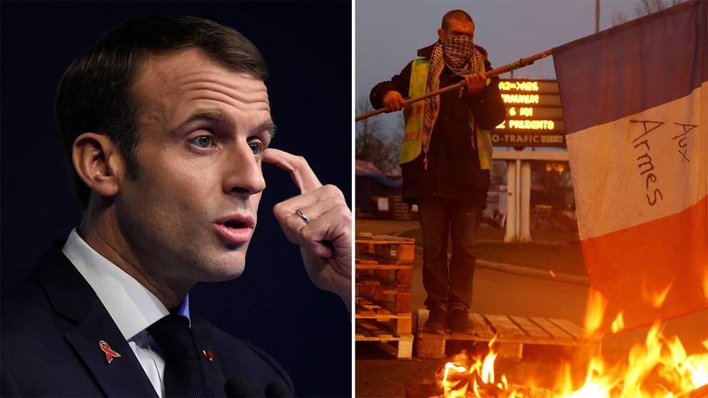 Stödet för Frankikes president Emmanuel Macron är rekordlågt efter den senaste tidens våldsamma protester mot de planerade höjningarna på bensinskatten.