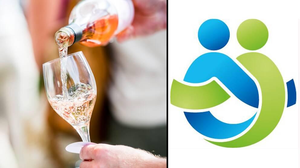 Vin hälls upp i glas och Region Örebro läns logotyp