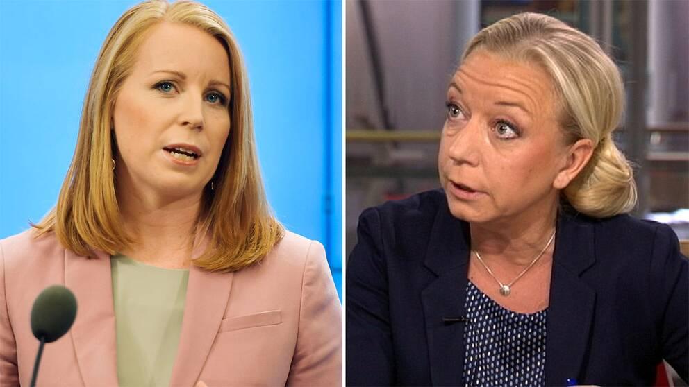 Annie Lööf och SVT:s politikreporter Elisabeth Marmorstein i Morgonstudion
