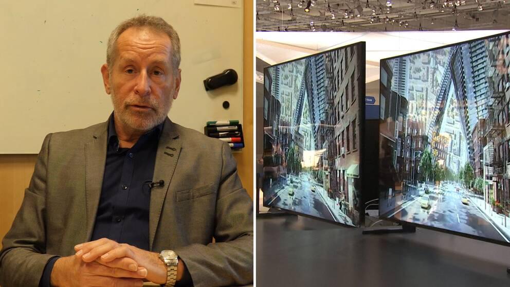 Theo Kanter och två stora skärmar