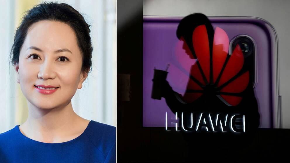 Huaweis finanschef Meng Wanzhou och en man framför företagets logotyp