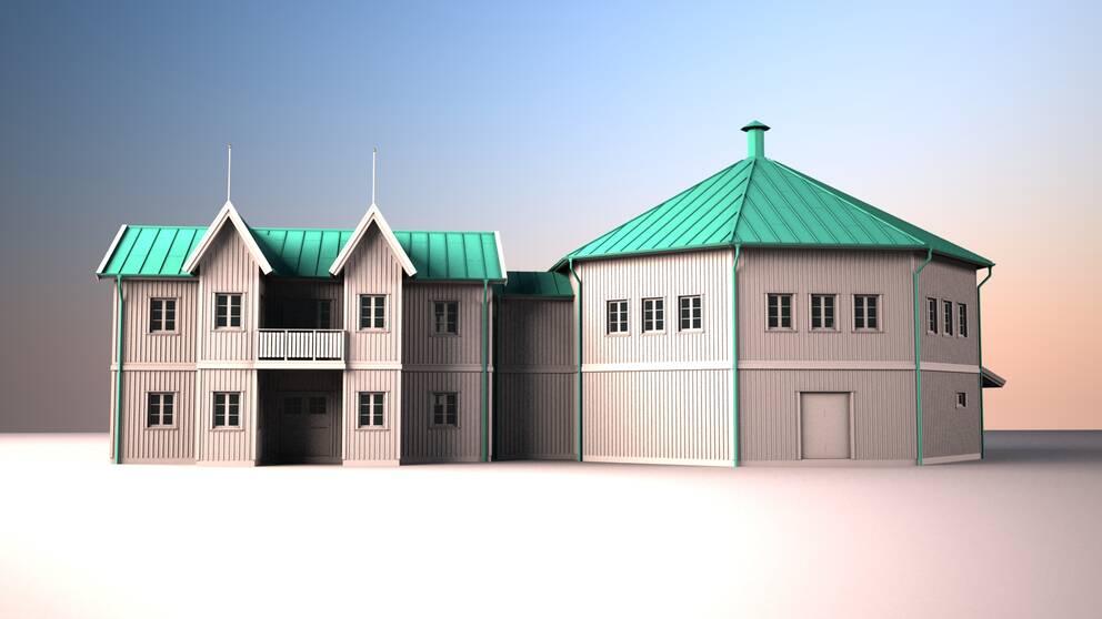 En bild på en modell av ett hus där det ena är åtta-kantigt.