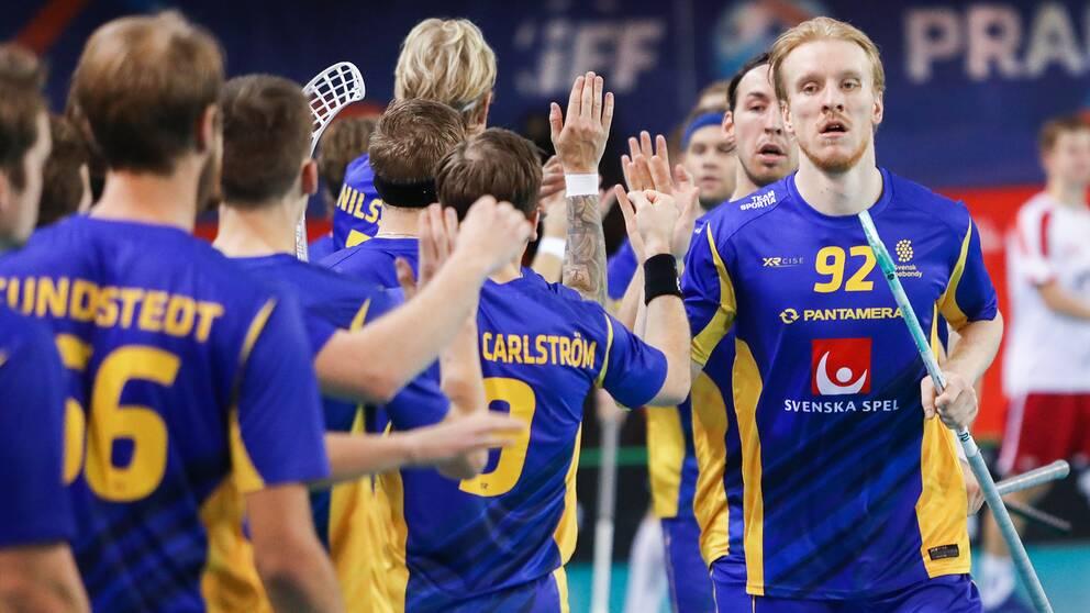 Sveriges Alexander Rudd (nummer 92) jublar med lagkamrater under VM-mötet med Norge.