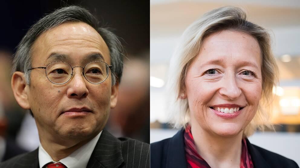 Steven Chu, Nobelpristagare och fd energiminister i USA och Karin Bäckstrand, professor vid Stockholms universitet och ledamot i regeringens klimatpolitiska råd.