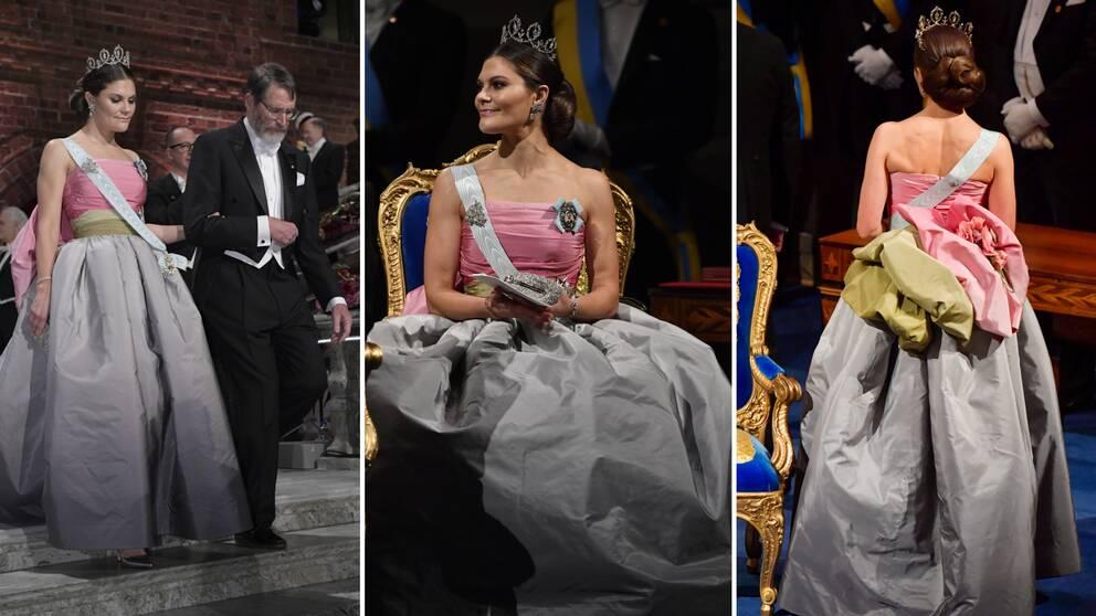 Kronprinsessan Victoria på Nobelutdelningen, i klänning i rosa, grönt och grått.