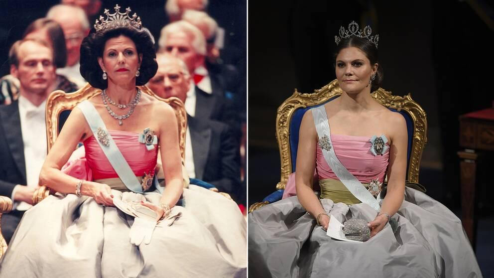 Drottning Silvia 1995 och kronprinsessan Victoria 2018 i samma klänning.
