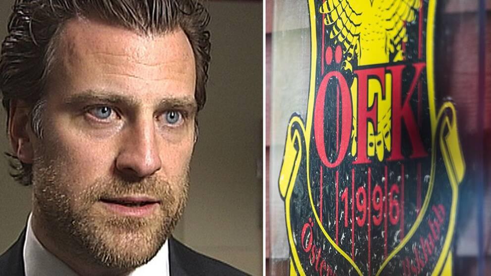 Advokat Jonas Granfelt, till vänster, och en ÖFK-logga till höger.