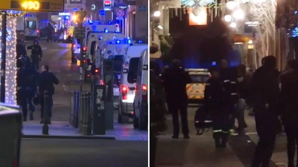 Polis och ambulanspersonal i Strasbourg