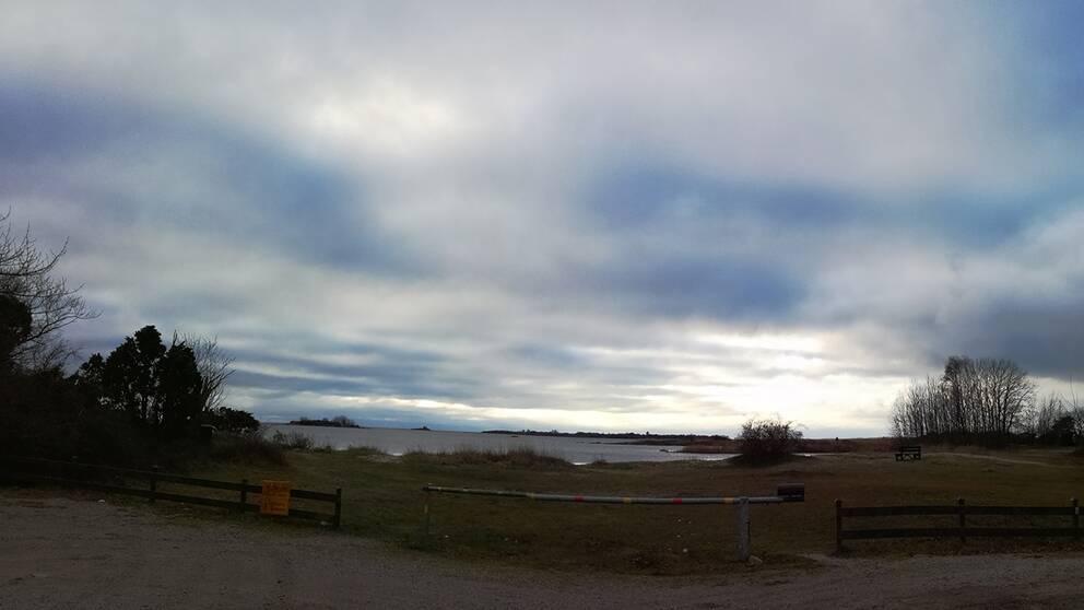 Vädret i Sölvesborg i morse, med sedan mot middagen tittade solen igenom.