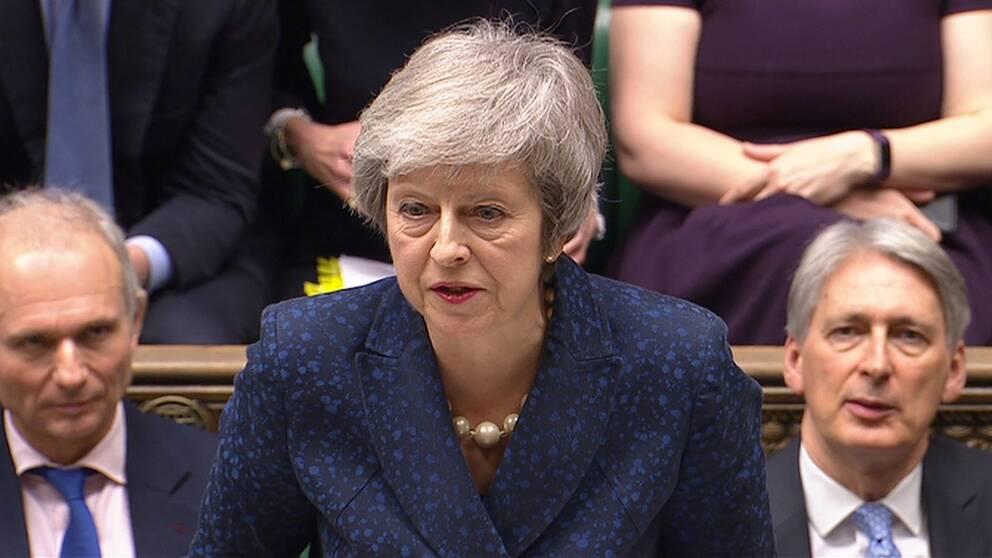 Theresa May i halvbild.