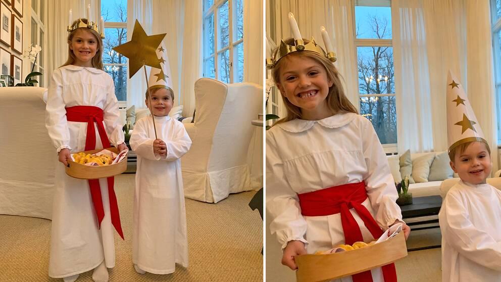 Prinsessan Estelle och prins Oscar firade Lucia traditionsenligt på Haga slott.