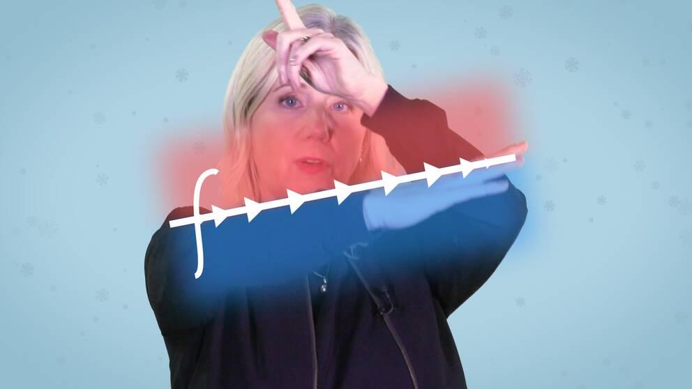 Meteorologen Åsa Ramussen håller upp sin arm i lutande vinkel för att illustrera klimatets utveckling och med andra armen ritar hon en linje som illustrerar temperaturens variation.